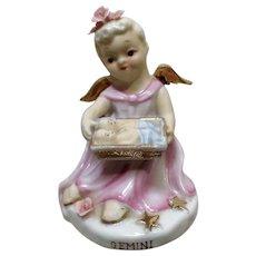 Lefton Gemini Zodiac Twins Girl Angel Figurine K8650