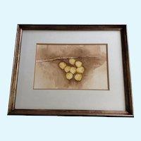 Barbara Stark, Aspen Cluster Leaves Watercolor Works on Paper Signed by Denver Artist