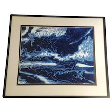 David E Reed, Abstract Flowing Turbulent Waters Oil Painting English Artist