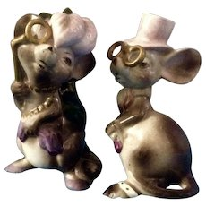 Mid-Century Mice Anthropomorphic Figurines Mouse Dressed with Gold Eyeglasses Japan