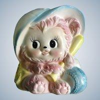 Mid-Century Napcoware Baby Planter Pink Teddy Bear Baseball Napco Japan Figurine 8594