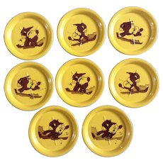 Vintage Stamped Tin Donkey Mule Vivid Yellow Coasters Mid-Century Set