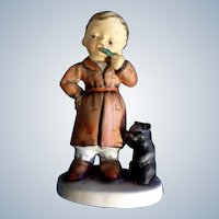 Mid-Century Napco Figurine Bedtime Boy Brushing His Teeth with Toothbrush and His Cat SH1B  Japan