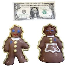 Vintage California Pottery Gesine Hand Painted Gingerbread Man & Woman Salt & Pepper Shakers