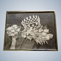 Shirley Davis Surratt, Beauty Pageant Crown and Roses Pencil Sketch Works on Paper Signed by Artist