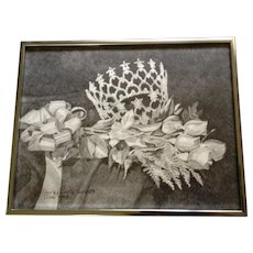 Shirley Davis Surratt, Beauty Pageant Crown and Roses Pencil Sketch