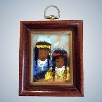 Linda Hooper, Small Enamel Painting on Copper Plate, Two Indian Girls With Braided Hair