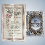 Antique German Baby Announcement Poem Certificate with Silk Boy Blue Pillow