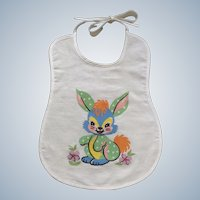 Adorable Baby Bib Blue Bunny Rabbit Mid-Century Cotton Fabric