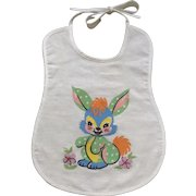 Adorable Baby Blue Bunny Rabbit Bib Mid-Century Cotton Fabric
