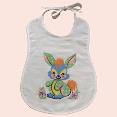 Adorable Baby Bib Blue Bunny Rabbit Mid-Century Cotton Fabric