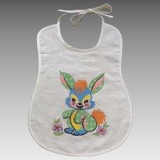 Adorable Baby Blue Bunny Rabbit Bib Mid-Century Cotton Fabric