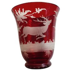 Bohemian Glass Stag Deer Vase Ruby Red Hand Etched Vintage