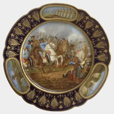 Sevres France Hand Painted Porcelain Cabinet Plate Signed By Artist Moreau, Battle of Villaviciosa Military Battle, Chipped flaws
