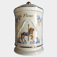 Beautiful Lenox Carousel Horse Flour Canister Jar Blue and Gold Ceramic 1995