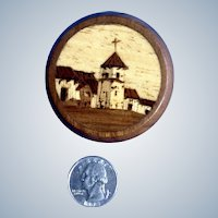 Vintage Marquetry Trinket Box Inlaid Wood Church Scene Highly Detailed Small Treasure