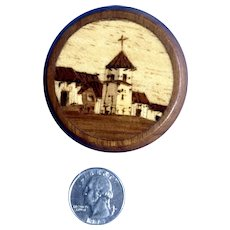 Vintage Marquetry Inlaid Wood Church Scene Trinket Box Highly Detailed Small Treasure
