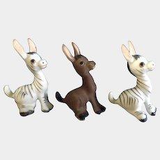 Josef Originals Donkey Zebras Figurines George Good Miniature Ceramic Animal Discontinued Early 1980's