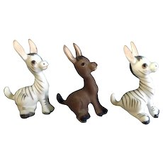 Josef Originals George Good Donkey Zebras Miniature Ceramic Animal Figurines Discontinued Early 1980's