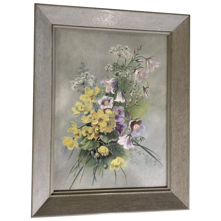 Stunning Large Vintage Shabby Chic Wildflower Bouquet Oil Painting ...
