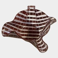 Art Glass Bowl Sherry Schuster Basket, Folded Tote Form, Burgundy Lined, American Modern, 1982 Signed By Artist