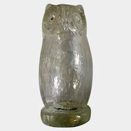 Vintage Clear Owl Pilgrim Hand Blown Art Glass Owl Paperweight Bird Figurine