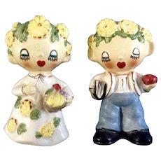 Mid-Century Girl & Boy Flower Children Salt & Pepper Shakers Japan Ceramic Figurines