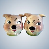 Vintage De Forest California Pottery Large Pig Head Salt & Pepper Shakers