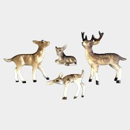 Bone China Miniatures Deer Family Set Matte Finish Vintage Japan Animal Figurines
