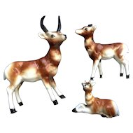 Bone China Miniatures Antelope Family Set Matte Finish Vintage Japan Animal Figurines