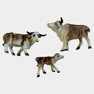Vintage Bone China Miniature Brown Oxen Water Buffalo Made in Japan Animal Figurine Set