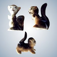 Vintage Bone China Miniature Animated Squirrel Family Made in Japan Animal Figurine Set