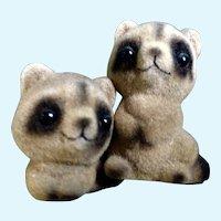 Vintage Josef Originals Baby Raccoon Figurines Flocked & Fuzzy