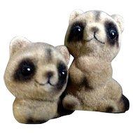 Vintage Josef Originals Baby Raccoon Flocked & Fuzzy Figurines