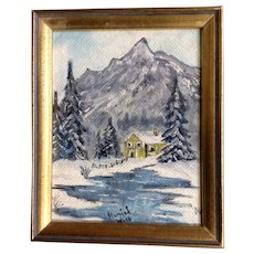 Muriel Wood, A Home on an Icy Stream, Miniature Oil Painting on Canvas Board Signed by Artist