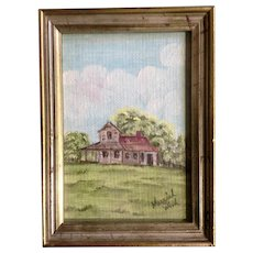 Muriel Wood, A Home on an Grassy Hill, Original oil Painting on Canvas Board Signed by Artist