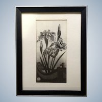 Okuyama Gijin, Japanese Woodblock Black, White and Silver Iris Flowers in a Boat Woodcut Print With Artist Stamp