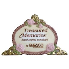 Enesco Dealer Sign Treasured Memories Plaque Advertising Hand Crafted Porcelain 1989 Discontinued
