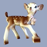 Mid-Century Bambi Deer Planter Figurine 1952 Disney Ceramic Christmas