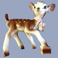 Mid-Century Bambi Deer Planter Figurine 1952 Disney Ceramic Christmas