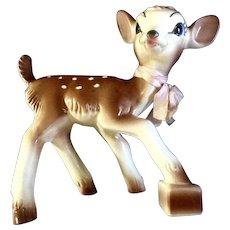 """Mid-Century Bambi Deer Planter Figurine 1952 Disney Ceramic Rare 8.5"""" Christmas"""