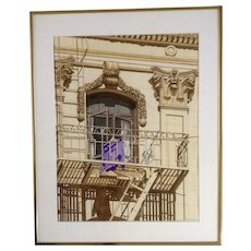 Dewey, Watercolor Painting Laundry Day in China Town Architectural Rendering Signed by Artist