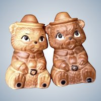 Vintage Twin Winton Salt & Pepper Shakers Smokey Bear Scout Ranger Brown Mid-Century Pottery Figurines