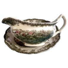 Discontinued Johnson Brothers The Friendly Village Gravy Boat & Underplate Relish Made in England 1953 - 2003