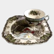 Johnson Brothers The Friendly Village Snack Plate & Regular Flat Cup Made in England 1953 - 2003 Discontinued