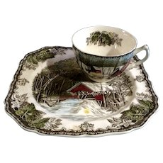 Discontinued Johnson Brothers The Friendly Village Snack Plate & Regular Flat Cup Made in England 1953 - 2003