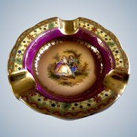 Vintage Ashtray Czechoslovakia Porcelain Victorian Couple Serenade Beautiful Mini Personal Ashtray