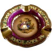 Vintage Mini Personal Czechoslovakia Ashtray Porcelain Victorian Couple Serenade Beautiful Ashtray