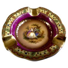 Vintage Mini Personal Czechoslovakia Ashtray Porcelain Victorian Couple Serenade Beautiful Ashtray