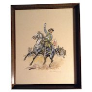 Original Eugene Leliepvre (1908-2013) Watercolor and Gouache Enhanced Print Painting Signed, Cavalry Officer Charge, Southerner Confederate Flag, American Revolution Civil War